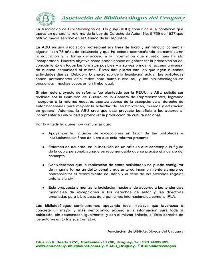 Comunicado ABU y la Ley de Derecho de Autor(1)